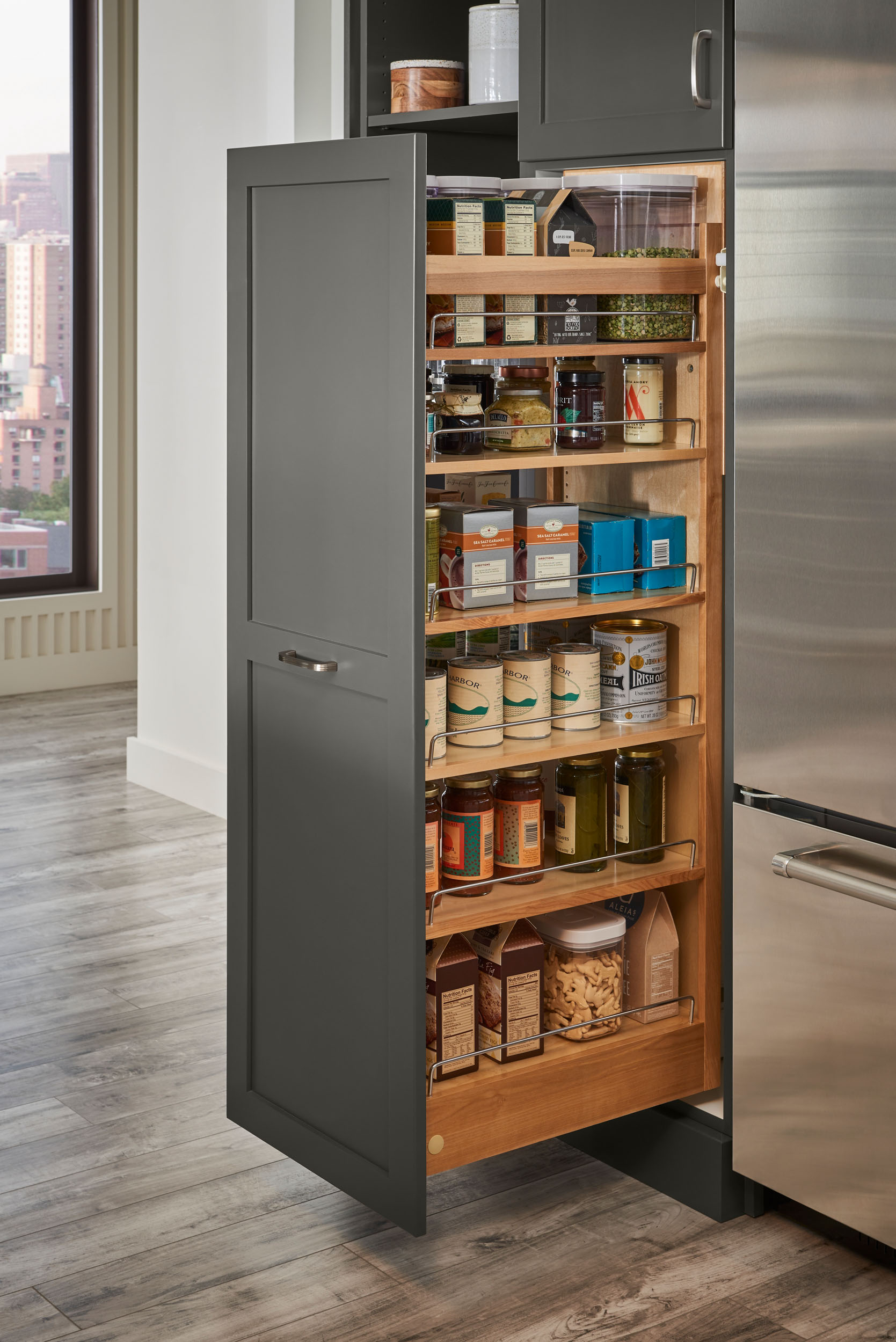 Tall Pull-Out Kitchen Cabinet, Double-Sided Full Access ...
